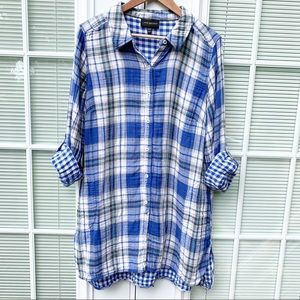 Lane Bryant Blue Plaid Long Sleeve Flannel Top